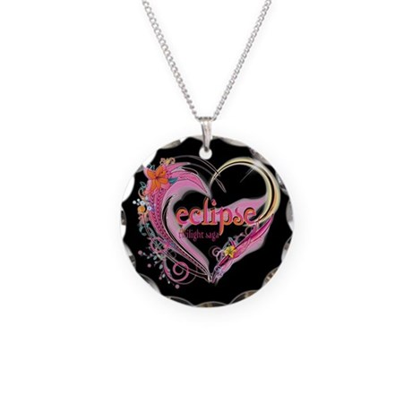 Twilight Eclipse Heart Necklace Circle Charm