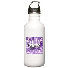 I Wear Violet 46 Hodgkin's Lymphoma Sports Water Bottle
