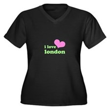 i love london (pink/green) Women's Plus Size V-Nec