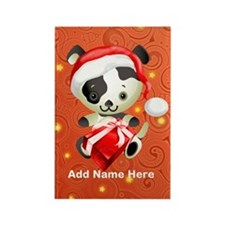 Christmas Santa Dog Rectangle Magnet