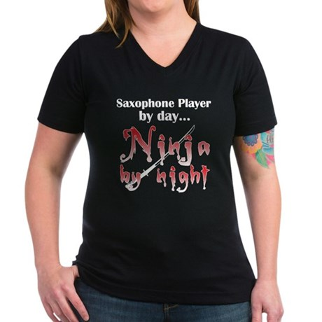 Saxophone Ninja Women's V-Neck Dark T-Shirt