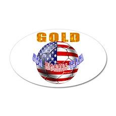 US Soccer Gold 38.5 x 24.5 Oval Wall Peel