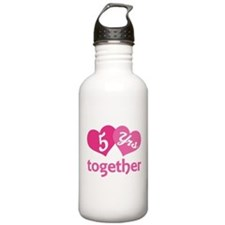 5th Anniversary Hearts Water Bottle
