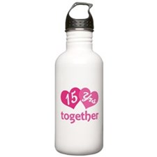 15th Anniversary Hearts Water Bottle