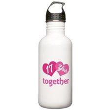 17th Anniversary Hearts Water Bottle