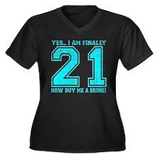 21st Birthday Women's Plus Size V-Neck Dark T-Shir
