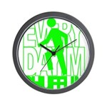 Everyday I'm Shufflin Green Wall Clock