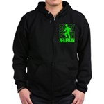 Everyday I'm Shufflin Green Zip Hoodie (dark)