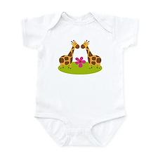 Twin Giraffes Cute Gift Infant Bodysuit