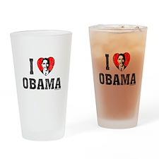 I Love Obama Drinking Glass