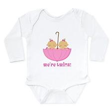 We're Twins Girls Long Sleeve Infant Bodysuit