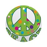 Polka Dots Peace Ornament (Round)