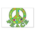 Polka Dots Peace Sticker (Rectangle 50 pk)