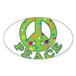 Polka Dots Peace Sticker (Oval)
