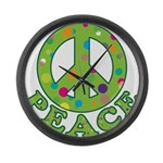 Polka Dots Peace Large Wall Clock