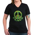 Polka Dots Peace Women's V-Neck Dark T-Shirt