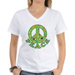Polka Dots Peace Women's V-Neck T-Shirt