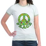 Polka Dots Peace Jr. Ringer T-Shirt