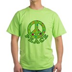 Polka Dots Peace Green T-Shirt