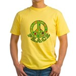 Polka Dots Peace Yellow T-Shirt