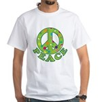 Polka Dots Peace White T-Shirt