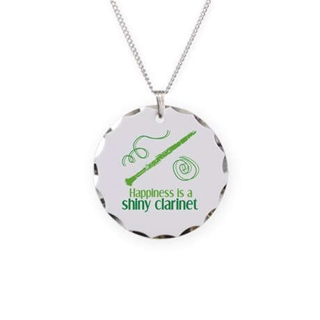 Shiny Clarinet Necklace Circle Charm