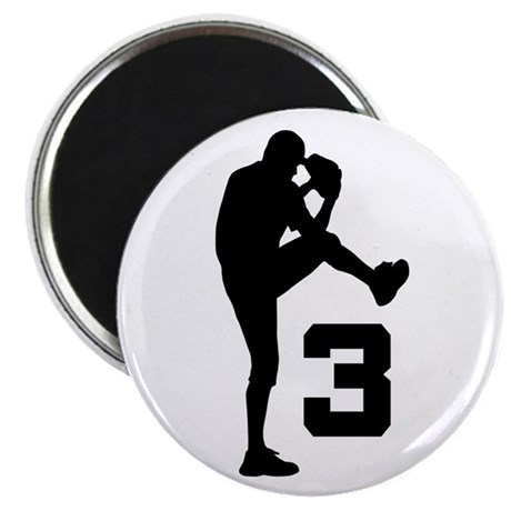 Baseball Pitcher Number 3 Magnet