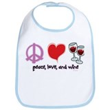 Peace, Love, and Wine Bib