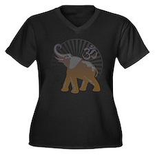 Ganesh Aum Women's Plus Size V-Neck Dark T-Shirt
