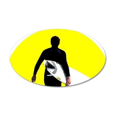 Surfer Silhouette 22x14 Oval Wall Peel