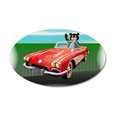 Classic Corvette Bear 38.5 x 24.5 Oval Wall Peel