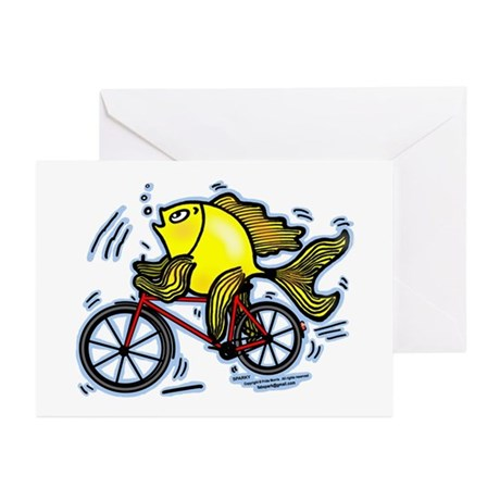 Bicycle Fish Funny Greeting Cards (pk Of 10)