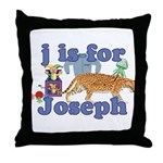 J is for Joseph Throw Pillow