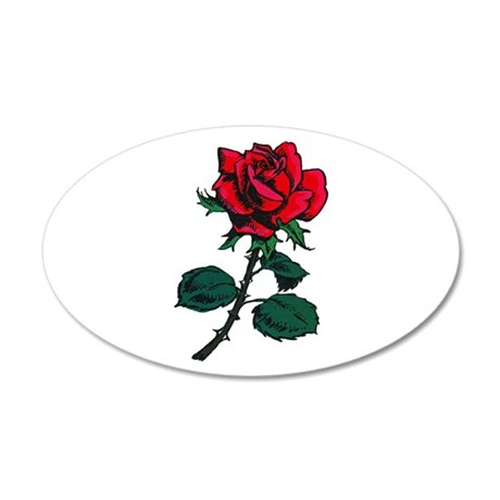 Red Rose Tattoo 22x14 Oval Wall Peel