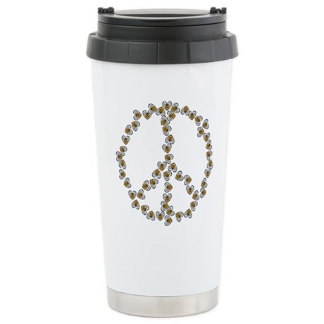 Peace Sign (made of bees) Ceramic Travel Mug