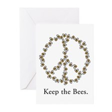 Keep the Bees (peace symbol) Greeting Cards (Pk of