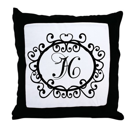 Monogram Letter Throw Pillow : H Monogram Initial Letter Throw Pillow by hometownshirt2