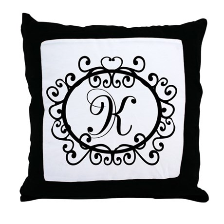 K Monogram Initial Letter Throw Pillow