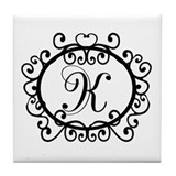 K Monogram Initial Letter Tile Coaster