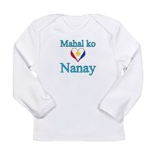 I Love Mom (2) (Filipino) Long Sleeve Infant T-Shi