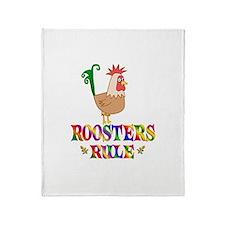 Fun Roosters Rule Throw Blanket