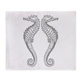Vintage Seahorse Throw Blanket