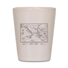 Wanderings of Aeneas Map Shot Glass