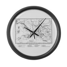 Wanderings of Aeneas Map Large Wall Clock