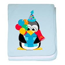 Birthday Penguin Scarf baby blanket