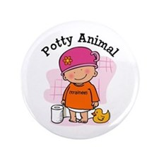 "Potty Animal Girl 3.5"" Button"