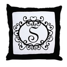 S Monogram Initial Letter Throw Pillow