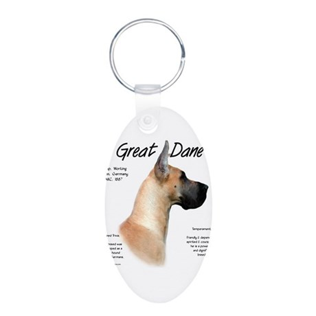 Fawn Great Dane Aluminum Oval Keychain