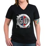 5.0 50 RWB Women's V-Neck Dark T-Shirt
