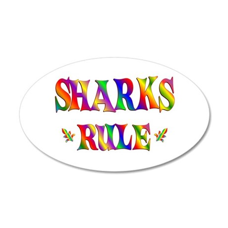 SHARKS RULE 22x14 Oval Wall Peel